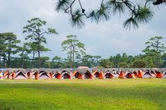 Tents for tourists on the peak of Phukradueng. Tents for tourists on the peak of Phukradueng Thailand royalty free stock photo