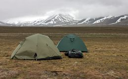 Tents in tundra in the Svalbard archipelago Stock Image