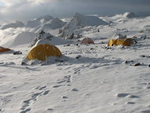 Tents under snow in the camp, Andes Royalty Free Stock Photos