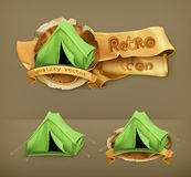 Tents vector icons. Set with Tents, vector icons Royalty Free Stock Photos
