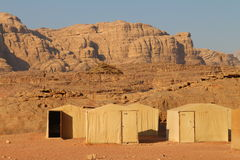 Tents in Wadi Rum. These tents are in a tourist area called Wadi Rum, in the desert of south Jordan stock photo