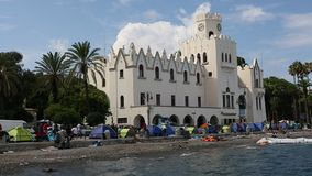 Tents war refugees in the port of Kos stock footage