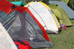 Tents where they sleep the kids and people sheltered from weathe Royalty Free Stock Photography