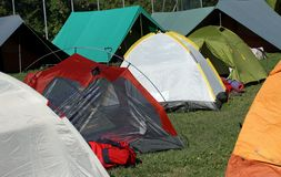 Tents where they sleep the kids and people sheltered from weathe Royalty Free Stock Photo