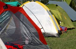 Tents where they sleep  people Stock Photography