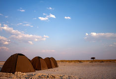 Tents wild camping. A series of tents on salt pans for wild camping royalty free stock image