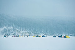 Tents winter fishing on ice in the early morning. Tents winter ice fishermen on the frozen river in the early morning, on a background of snow-covered forest Royalty Free Stock Images