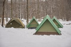 Tents in winter snow Royalty Free Stock Photos