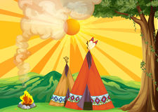 Tents in the woods vector illustration