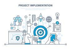 Tenuitvoerlegging van projecten Concept project, bedrijfs planning en marketing onderzoek royalty-vrije illustratie