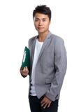 Tenuta asiatica dell'uomo d'affari con il bordo dell'archivio Fotografia Stock