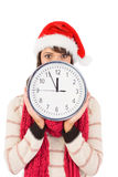 Tenuta castana festiva un orologio Fotografia Stock