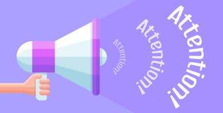 Tenuta del megafono del fumetto nella mano Illustrazione di vettore di promozione Immagini Stock