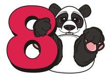 Tenuta del panda un numero rosso otto Immagini Stock