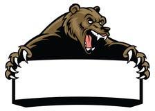 Tenuta dell'orso grigio il segno in bianco royalty illustrazione gratis