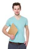 Tenuta dell'uomo con la lavagna per appunti Fotografia Stock Libera da Diritti