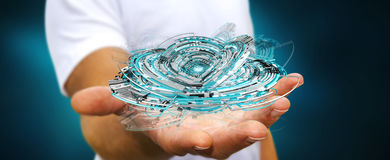 Tenuta dell'uomo d'affari che fa galleggiare 3D che rende il inte digitale del blu di tecnologia Fotografia Stock