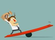 Tenuta dell'uomo d'affari la borsa ed il supporto dei soldi sulla leva Il modo a successo con i suoi soldi Personaggio dei carton Immagine Stock