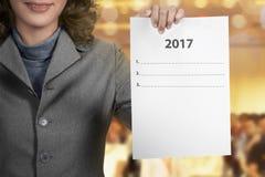 Tenuta 2017 della donna per fare lista Fotografia Stock