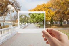 Tenuta della foto istantanea. Immagine Stock