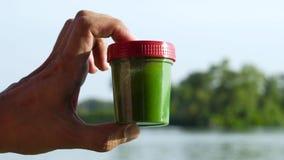 Tenuta della mano del primo piano e contenitore maschii di mescolatura con le alghe verdi vicino al fiume archivi video