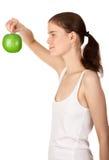 Tenuta della mela Immagine Stock