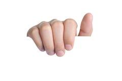 Tenuta della scelta di posizione del segno della mano isolata Fotografie Stock
