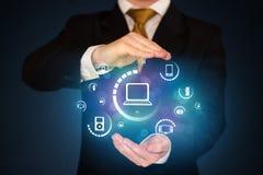 Tenuta delle icone digitali di media Immagine Stock