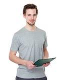 Tenuta dello studente con la lavagna per appunti Immagini Stock Libere da Diritti