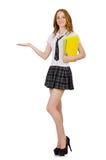 Tenuta femminile del giovane studente isolata su bianco Fotografia Stock