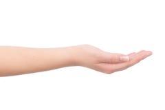 Tenuta femminile della mano qualche cosa di invisibile Immagini Stock Libere da Diritti