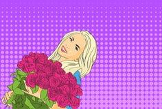 Tenuta Rose Flower Bouquet March Pop Art Colorful Retro Style della donna Fotografie Stock Libere da Diritti