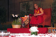Tenzin Gyatso. BARCELONA, SPAIN - SEPTEMBER 10: XIV Dalai Lama Tenzin Gyatso speaks in a conference on September 10, 2007 in Barcelona, Catalonia, Spain Royalty Free Stock Images