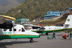Tenzing-Hillary airport in Lukla royalty free stock photo
