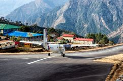 Tenzing-Hillary Airport in Lukla, Nepal stock photography