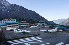 Tenzing-Hillary Airport in Lukla, Nepal. Royalty Free Stock Photos