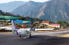 Tenzing-Hillary Airport in Lukla, Nepal. Royalty Free Stock Images
