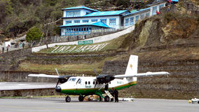 Tenzing-Hillary Lukla Airport. Tenzing-Hillary Airport, also known as Lukla Airport, is a small airport in the town of Lukla, in Khumbu, Solukhumbu district Royalty Free Stock Image
