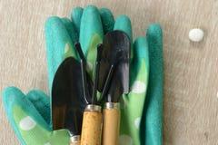 Teo skyffel och brottningar på delen av gröna handskar Royaltyfri Fotografi
