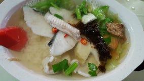 Teochew fisksoppa med ris Royaltyfri Fotografi