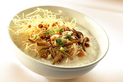 Teochew porridge. A bowl of teochew porridge with anchovies, fried vermicelli , peanuts and spring onions Stock Photos