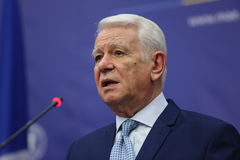 Teodor Viorel Melescanu, Romanian Minister of Foreign Affairs. BUCHAREST, ROMANIA - January 30, 2017: Teodor Viorel Melescanu, Romanian Minister of Foreign stock images