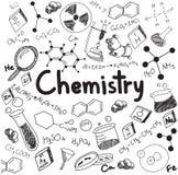 Teoría de la ciencia de la química y ecuación de la fórmula de la vinculación, garabato ha stock de ilustración