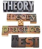 Teoría, práctica y prueba Foto de archivo