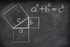 Teorema pitagórico en la pizarra fotografía de archivo libre de regalías