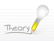 Teori som är skriftlig med en idéblyertspenna för ljus kula stock illustrationer
