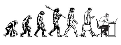 Teoria da evolução do homem ilustração do vetor