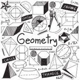 A teoria da matemática da geometria e a fórmula matemática rabiscam a escrita Foto de Stock Royalty Free