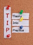 Teoria W praktykę (porada akronim) Fotografia Royalty Free