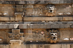 Teotihuacan Aztec ruins near Mexico city. Mexico, Teotihuacan Aztec ruins near Mexico city. The picture presents detail of the Quetzalcoati temple stock photography